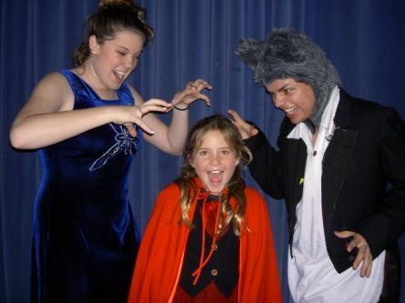 Lindsay Maple as the Witch, Kaytlin Barr as Little Red Riding Hood and John Cardenas as the Wolf